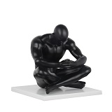 Deep Thinker Sculpture - Matte Black