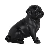 Pug Dog Sitting Matte Black Statue