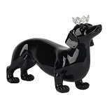 Princess Pooch - Black Sausage Dog Sculpture
