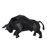 Geometric Bull Sculpture - Matte Black