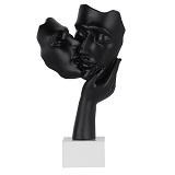 Kissing Couple Sculpture - Matte Black